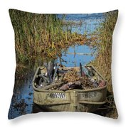 Opening Day Hunting Boat Throw Pillow
