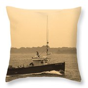 Fishing Boat Portland Maine Throw Pillow