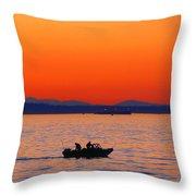 Fishermen At Sunset Puget Sound Washington Throw Pillow
