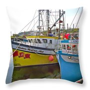 Fishing Boat Reflection In Branch-newfoundland-canada Throw Pillow