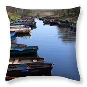 Fishing Boat Row Throw Pillow