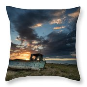 Fishing Boat Sunset Throw Pillow