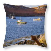 Fishing Boats At Anchor In A Quiet Bay On The Isle Of Skye In Sc Throw Pillow