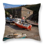 Fishing Boats At Mullion Cove Throw Pillow