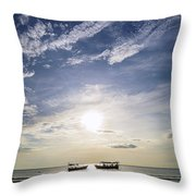 fishing boats at sunset in koh rong Cambodia Throw Pillow