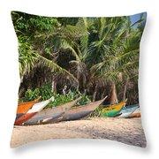 Fishing Boats B Mirissa Beach Throw Pillow