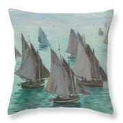Fishing Boats Calm Sea Throw Pillow