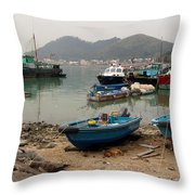 Fishing Boats - Hong Kong Throw Pillow
