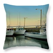 Fishing Boats In A Harbor Towards Evening On Prince Edward Island Throw Pillow