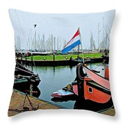 Fishing Boats In Enkhuizen-netherlands Throw Pillow