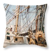 Fishing Boats In Harbour Throw Pillow
