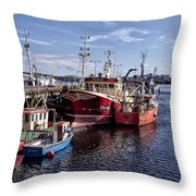 Fishing Boats In Killybegs Donegal Ireland Throw Pillow