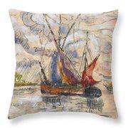 Fishing Boats In La Rochelle Throw Pillow by Paul Signac