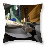 Fishing Boats In Manarola - Cinque Terre Throw Pillow