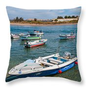 Fishing Boats Throw Pillow by Luis Alvarenga