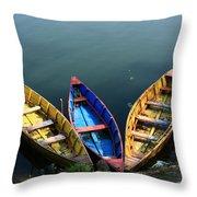 Fishing Boats - Nepal Throw Pillow