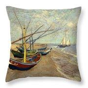 Fishing Boats On The Beach At Les Sainte-maries-de-la-mer Throw Pillow