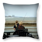 Fishing Buddies Throw Pillow by Kathy Barney