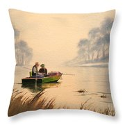 Fishing By Sunrise Throw Pillow