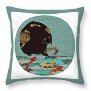 Fishing Cat Black Throw Pillow