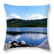 Fishing Day - Calm Waters - Digital Painting Throw Pillow