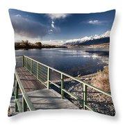 Fishing Dock Throw Pillow