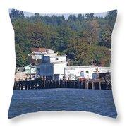 Fishing Docks On Puget Sound Throw Pillow