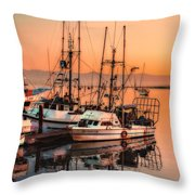 Fishing Fleet Sunset Boat Reflection At Fishermans Wharf Morro Bay California Throw Pillow