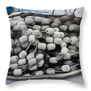 Fishing Floats On A Boat Throw Pillow