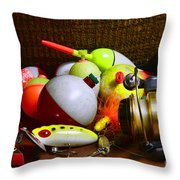 Fishing - Freshwater Tackle Throw Pillow by Paul Ward
