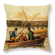 Fishing In A Punt Throw Pillow