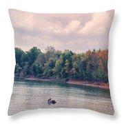 Fishing In Autumn Throw Pillow by Jai Johnson