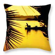 Fishing In Gold Throw Pillow by Karen Wiles