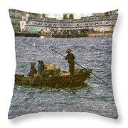 Fishing In Hong Kong Vintage  Throw Pillow