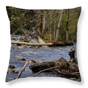 Fishing In Pacific Northwest Throw Pillow