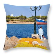 Fishing In Spetses Town Throw Pillow