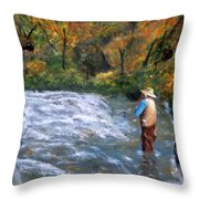Fishing In The Fall Throw Pillow