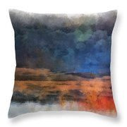Fishing In The Fog Photo Art Throw Pillow