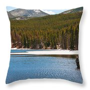 Fishing In Winter Throw Pillow