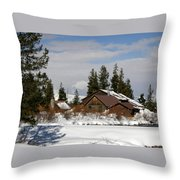 Fishing Lodge In The Winter Throw Pillow