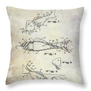 Fishing Lure Patent 1959 Throw Pillow