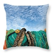 Fishing Nets And Alto-cumulus Clouds Throw Pillow