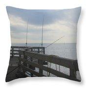 Fishing Off Rodanthe Pier Throw Pillow