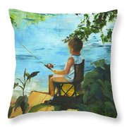 Fishing Off The Dock Throw Pillow