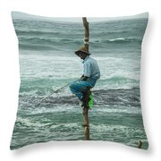 Fishing On A Pole Throw Pillow