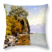 Fishing On Lac Leman Throw Pillow