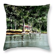 Fishing On Lazy Days - Aucilla River Florida Throw Pillow