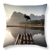 Fishing On Li River Throw Pillow