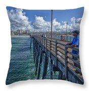 Fishing On Oceanside Pier Throw Pillow