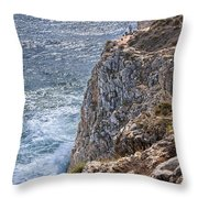 Fishing On The Cliffs Throw Pillow